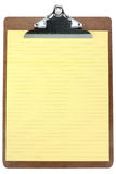 Klemmbrett mit gelbem Briefpapier Stockbilder