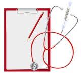 Klemmbrett, Stethoskop, Quecksilberthermometer medizinisch Auch im corel abgehobenen Betrag Lizenzfreie Stockfotografie