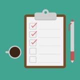 Klemmbrett und Checkliste Lizenzfreies Stockfoto