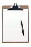 Klemmbrett und gezeichnetes Papier Lizenzfreie Stockbilder