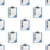 Klemmbrett und Pen Icon Seamless Pattern lizenzfreies stockbild