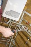 Klempner bei der Arbeit Stockfotos