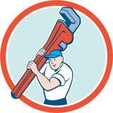 Klempner-Carrying Monkey Wrench-Kreis-Karikatur Stockfotografie