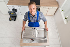 Klempner-Fixing Stainless Steel-Wanne Lizenzfreies Stockfoto