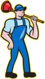 Klempner-Holding Plunger Standing-Karikatur Lizenzfreie Stockbilder