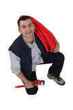 Klempner mit Rohr Lizenzfreie Stockfotos