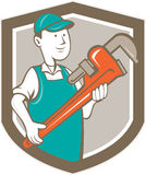 Klempner-Monkey Wrench Shield-Karikatur Stockfotos
