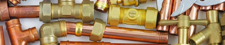 Klempner ` s Rohr- und Installationsfahne für Website stockfotos