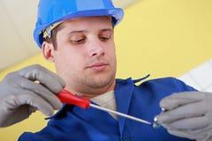 Klempner stark bei der Arbeit Stockfotos