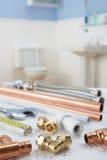 Klempnerarbeithilfsmittel und -materialien Lizenzfreies Stockfoto
