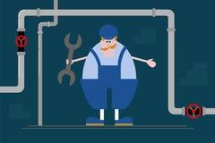 Klempnermann mit dem Ingwerschnurrbart in der blauen Overallzeichentrickfilm-figur mit Schlüssel auf dem Hintergrund von Rohren F Stockbilder