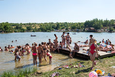 KLENOVETS, UKRAINE- AUGUST 09, 2015: People enjoying summer time Royalty Free Stock Image