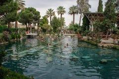 Kleopatra altes Pool mit Türkiswasser und -spalten stockbild