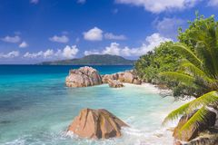 Klepnięcie plaża, Seychelles Fotografia Stock