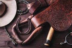 Kleren en toebehoren voor paardrijden. royalty-vrije stock afbeeldingen