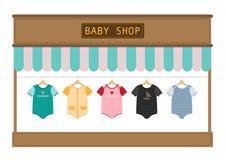 Kleren voor kleine jongens en meisjes in opslag, Vector illustratons Stock Fotografie