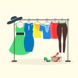 Klerenrekken met Vrouwenslijtage op Hangers Vector stock illustratie