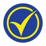 Kleszczowej ikony wektorowy symbol, akceptuje guzika, checkmark, OK ikona w żółtych i błękita kolorach ilustracji