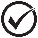Kleszczowej ikony wektorowy symbol, checkmark odizolowywający na białym tle, sprawdzał ikonę, poprawnego wyboru znak, czek ocena  royalty ilustracja