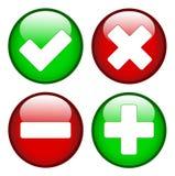 Kleszczowy krzyża minus plus znaki Obrazy Stock