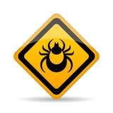 Kleszczowy niebezpieczeństwa ostrzeżenia znak Fotografia Stock