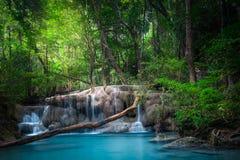 Kletter landschap met Erawan-waterval Kanchanaburi, Thailand Stock Foto's