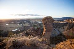 Kletterer bei Smith Rock State Park Stockbild