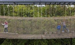 Fishing net on a climbing garden for children stock photos