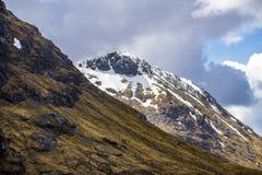 Klettern, Gehen und Skiiing in Glen Coe in den Hochländern von Schottland Lizenzfreies Stockbild