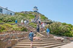 Klettern Sie von funikulärem zum historischen Leuchtturm am Kap-Punkt Stockbild