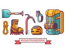 Klettern, wandernd und Bergsteigen-Ikonen Lizenzfreie Abbildung
