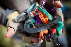Kletternde Ausrüstungsansicht Lizenzfreie Stockbilder