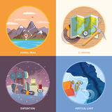 Kletternde Illustrationen des quadratischen flachen Vektors Lizenzfreie Stockfotos