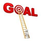 kletternde Leiter des Mannes 3d zum roten Ziel im Wortziel über weißem Hintergrund Stockfoto