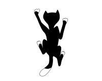 Kletternde schwarze Katze Stockfoto