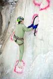 Kletternder Wettbewerb des Eises Stockbild