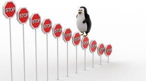 kletterndes Stoppschild des Pinguins 3d verschalt Konzept Stockbilder
