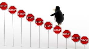 kletterndes Stoppschild des Pinguins 3d verschalt Konzept Stockbild
