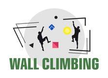 Kletterwandsportlogo Mans zusammen kletternd auf der Wand Kreatives modernes Sportfirmenzeichen Wandern Innen stock abbildung