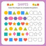 Kleur de vormen om het patroon te voltooien Leer vormen en geometrische cijfers Kleuterschool of kleuterschoolaantekenvel stock illustratie