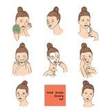 Kleur die met vrouwenhoofd wordt geplaatst in verschillende voorwaarden, stemming en hoek De kosmetiekprocedures zoals behandelin royalty-vrije illustratie
