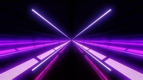 Kleur die multikleuren lichte tunnel met rode en blauwe lichten en bezinningen veranderen royalty-vrije illustratie