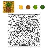 Kleur door aantal: ananas Royalty-vrije Stock Foto's