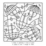 Kleur door aantal, onderwijsspel over paraplu's vector illustratie