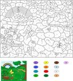 Kleur door aantal onderwijsspel voor jonge geitjes Bosopen plek met s Royalty-vrije Stock Foto's