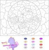 Kleur door aantal onderwijsspel voor jonge geitjes Grappige beeldverhaaldraak Royalty-vrije Stock Afbeelding