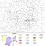 Kleur door aantal onderwijsspel voor jonge geitjes Grappige beeldverhaaldraak Stock Fotografie