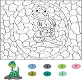 Kleur door aantal onderwijsspel voor jonge geitjes grappige beeldverhaalslang Stock Afbeeldingen