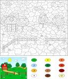 Kleur door aantal onderwijsspel voor jonge geitjes Landelijk landschap met Royalty-vrije Stock Afbeeldingen