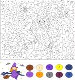 Kleur door aantal onderwijsspel voor jonge geitjes Nice en vriendschappelijk verstand Stock Afbeeldingen